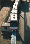 Overhead view of Monorail train next to goods line at rear of Darling Harbour thumbnail