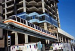 Monorail train passing Market Street construction site thumbnail