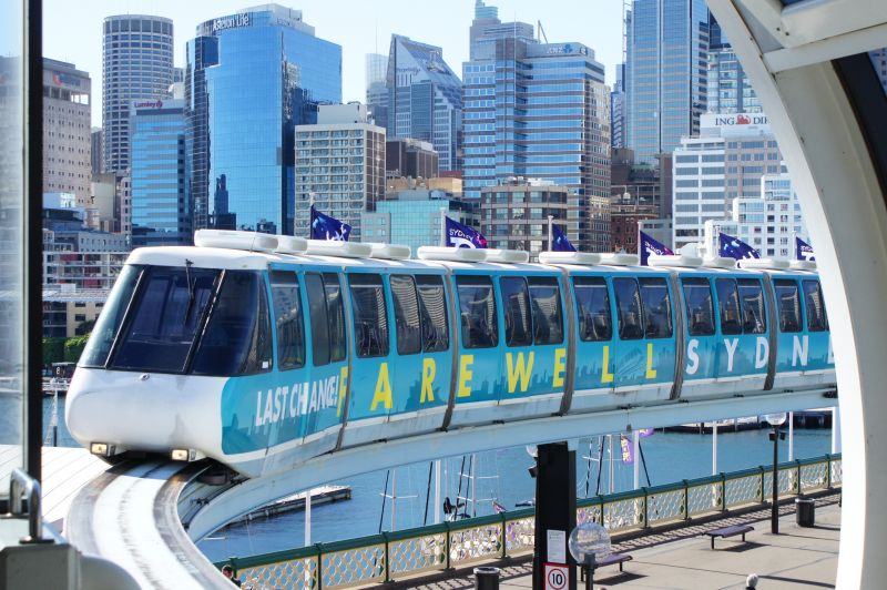 Set 4 - the preserved Farewell Sydney Monorail livery train arriving at Harbourside Station in 2013